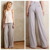 Cartonnier Anthropologie Verso Wide Leg Trouser Pants Gray Rayon Size 12
