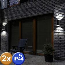 2er Set Außen Wand Leuchten ALU schwarz Fassaden Up Down Lampen Veranda Strahler