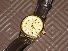 Casio Ladies Quartz Watch Gold Face, Leather Band As-New Excellent Condition