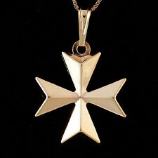 Malta MALTESE CROSS Jewellery Hallmarked 9ct Gold 3D Pendant Charm Genuine 375
