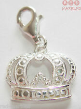 Brand New 925 Sterling Silver Crown. Traditional Charm By Source. Lobster Clasp.