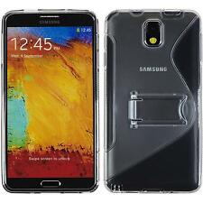 Coque en Silicone Samsung Galaxy Note 3 pied support gris