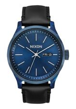 Nixon Men's Sentry Luxe A12633168-00 42mm Blue Dial Leather Watch