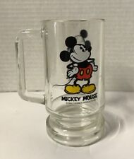 MICKEY MOUSE VINTAGE CLEAR GLASS BEER MUG 1970'S WALT DISNEY PRODUCTIONS