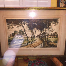 """ANTIQUE FRENCH COLOR ETCHING SIGNED BY FRANCIS ROTH #418/500 32X23 """"LA ROU"""