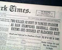 OLD YANKEES STADIUM Baseball Disaster New York BABE RUTH Gehrig 1929 Newspaper