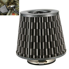 "Black 3"" Round Tapered Universal Air Intake Cone Filter Chrome Car/Truck/SUV"