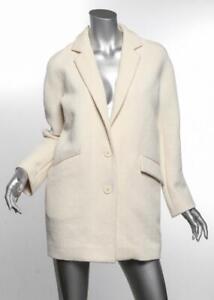 VANESSA BRUNO ATHE Womens Ivory Cotton Textured Short Coat Jacket FR36 US4