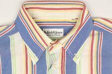 Bullock Jones Mens Shirt M Blue White Red Yellow Green Stripe Button Down Collar