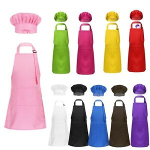 Kids Apron and Chef Hat Set Adjustable Apron with Pocket for Kitchen Cooking