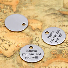 10pcs Believe you can and you will charm silver tone message charm pendant 20mm