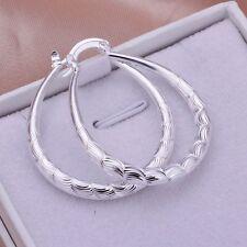 Fashion 925Sterling Solid Silver Jewelry Cute Oval Hoop Earrings For Women E295