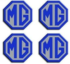 MG TF Car Alloy Wheel Centre Caps Badges Blue & Silver 45mm Hub Cap Badge 4 Pack