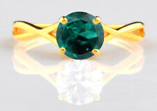 1.10 Carat Solid 14KT Yellow Gold Round Shape Natural Zambian Green Emerald Ring