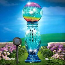 Blue Solar Lighted Glass Gazing Ball Garden Yard Lawn Ornament Art Decor 21'H
