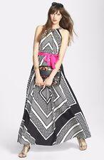 Eliza J Print Crêpe de Chine A-Line Maxi Dress SZ 8