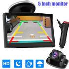Front View Backup Camera 5'' TFT LCD Monitor Kit Car Rear View Parking System