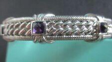 JUDITH RIPKA 925 Sterling Silver Amethyst Hinged Cuff Bracelet w JR Pouch