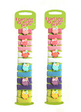 24 Pack of Owl and Plain Design Hair Bands Mini Baby Ponytail Elastic Stretchy