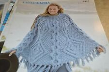 Sirdar Knitting Pattern 8442 Denim Ultra Cabled Poncho one size