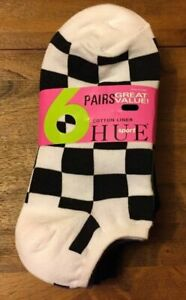 HUE SPORT Cotton Liner No Show Socks (checkerd/stripe/solid) 6 pair pack NWT