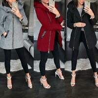 Ladies Winter Collar Hooded Colorblock Zipper Long Sleeve Coat Jacket Outwear