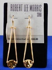 Robert Lee Morris Gold Plated Trapeze Stick Disc Linear Drop Earrings $32