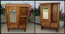 Antique Quarter Sawn Golden Oak Mission Medicine Cabinet Apothecary Bevel Mirror