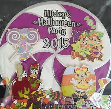 DISNEY PIN SET (4) MICKEY'S HALLOWEEN PARTY 2015 MINNIE CHIP & DALE DONALD DAISY