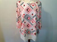 White Black Orange TOMMY HILFIGER 100% Cotton 3/4 Sleeve Top Shirt Size XL