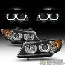 Black [HID/Xenon-AFS] 2006 2007 2008 BMW E90 Sedan LED Tube Projector Headlights