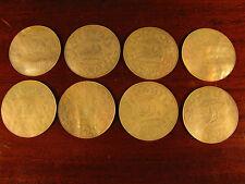 8 fichas para juegos Redondo Antiguo Madre de Perla Oriental Chino Tallado A Mano