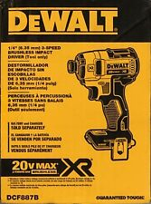 "Brand New Dewalt 20V Max XR 1/4"" 3 speed Impact Driver DCF887B Free Shipping"
