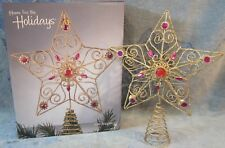 Gold Thread 3 Dimension Star Tree Topper With 22 Red Rhinestones 10� Tall New