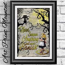 MAGIC INCANTESIMO Alice nel paese delle meraviglie montato poster Overprinted stampa pagina dizionario