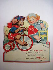 Vintage Antique Mechanical Valentine w/Dog on Tricycle With Valentine for Girl *