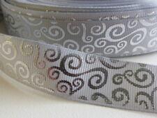 """Silver Foil Swirls on Grey Grosgrain Ribbon 22mm (7/8"""") wide x 1 meter"""