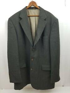 Oscar De La Renta Mens Sports Coat Suit Jacket Green Black Houndstooth 44L Wool