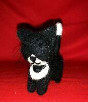BLACK TUXEDO Cat Kitten Wee Forest Miniature Wool Standing Folk Art Doll ❤️