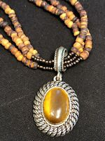 Vintage Avon  Wood Seed Bead Three Strand Tigers Eye  Silver Pendant Necklace