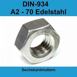 M2 DIN 934 Sechskantmuttern A2 Edelstahl V2A VA Sechskant Muttern 20-500 St.