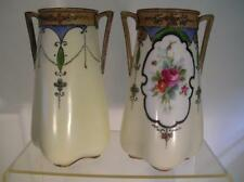 Antique Noritake Vases. Art Nouveau.  Hand Painted. Floral. C.1920 Komura. (77)