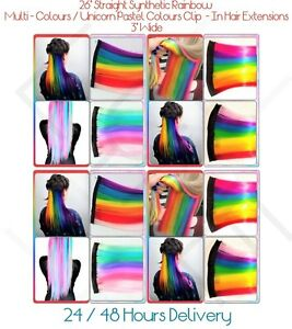 "7 Colours Rainbow Clip - In Highlight Streaks 26"" Long Hair Extensions 3"" Wide"