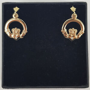 14ct Yellow Gold Solvar Claddagh Stud Earrings With Real Diamond