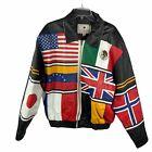 Bomber Leather Jacket Patriotic World International Flags sz XL Olympic Vintage