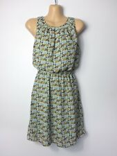 Aqua green & mustard vintage butterfly sleeveless tunic tea dress, size 8