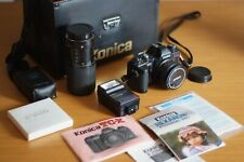 KONICA TC-X 35mm SLR Film Camera With multiple lenses and attachments