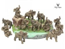 Playful Elephants Nursery Display Set Ornaments Figurine Statue Baby Elephants