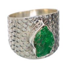 ECHTER TSAVORIT Rohstein Ring Gr16,4 925 Silber  *12x8mm*