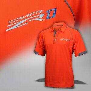 2019 Corvette C7 Mens X-Large Sebring Orange Polo Shirt with ZR1 Logo 637114XL